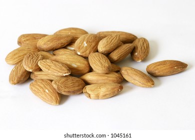 almonds isolated on a white background.
