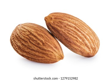 Almonds isolated on white background. With clipping path.