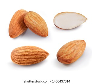 Almonds isolated on white background. Collection. Set.  Whole and half peeled nuts.
