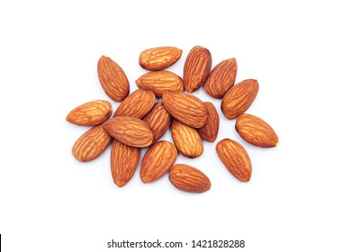 almonds  isolated on white background , Top view.