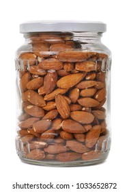 Almonds in a jar, isolated white background