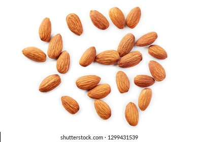 Almonds kernel isolated on white background. Top view