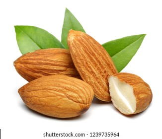 Almonds with leaves isolated on white background. Macro, studio shot.