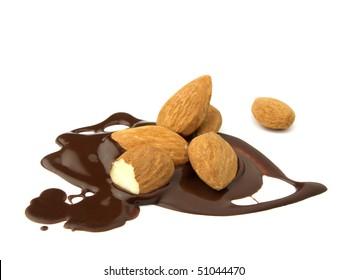 Almonds in liquid chocolate