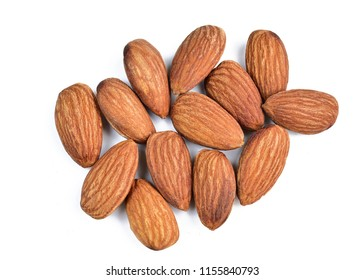 Almonds nut on white background.