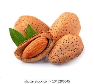 Almonds nuts isolated on white backgrounds.