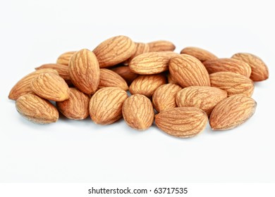 Almonds; Objects on white background