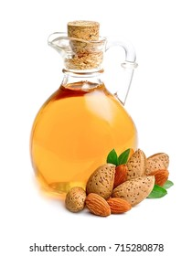 Almonds oil isolated on white background.