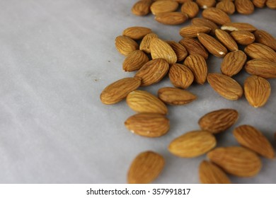 Almonds on a marble slab