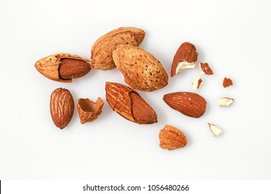 Almonds on white background macro. Almonds background. Almond nuts.