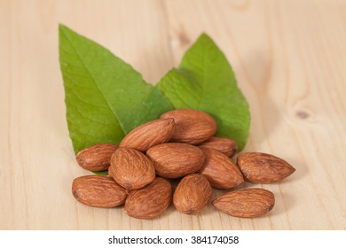 Almonds on wood