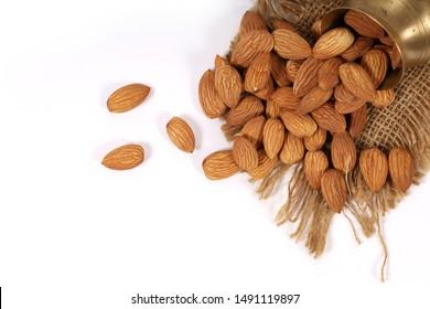 almonds, almonds in white background