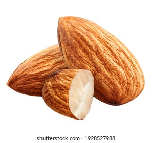 Almonds without shadow isolated on white background