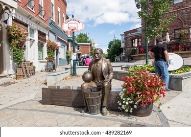 ALMONTE, ONTARIO, CANADA SEPTEMBER 11, 2016: A commerative statue of the inventor of basketball Dr James Naismith.