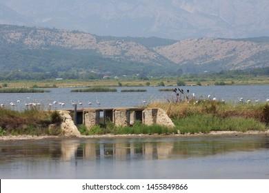 almost abandoned salt production facilities in Ulcinj Montenegro