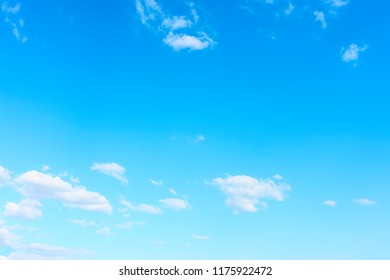 Almost clear blue sky with white clouds - background with large space for your own text
