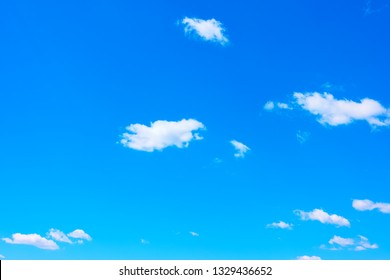 Almost clear spring blue sky - natural background