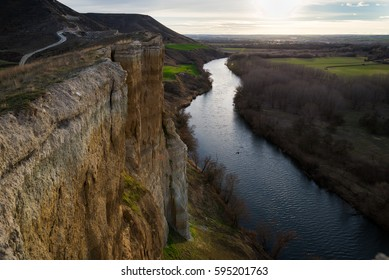 Almost vertical scarp of an area in Pigheaded one of Pisuerga in the province of Valladolid (Spain)