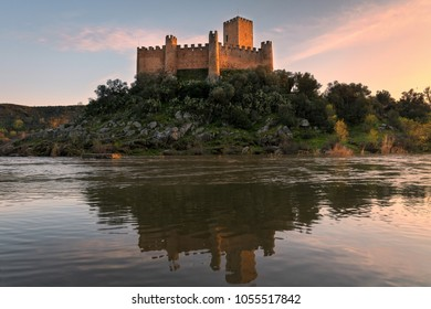 Almourol castle at sunset