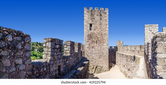 Almourol, Portugal - July 18, 2015: Keep and bailey of the Templar Castle of Almourol. One of the most famous castles in Portugal. Built on a rocky island in the middle of Tagus river.