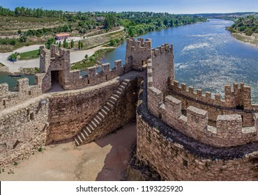 Almourol, Portugal - July 18, 2017: Castle of Almourol, an iconic Knights Templar fortress built on a rocky island in the middle of Tagus river. Almourol, Portugal