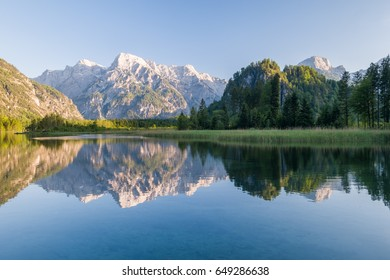 The Almsee lake in the austrian apls