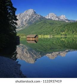 Almsee near Gruenau in the Salzkammergut, Upper Austria, Austria