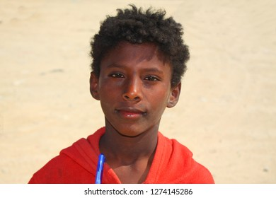 AL-MUKALLA, YEMEN - DECEMBER 2008: unidentified boy who looks forward to be photographed by tourists on December 24, 2008 in al-Mukalla.