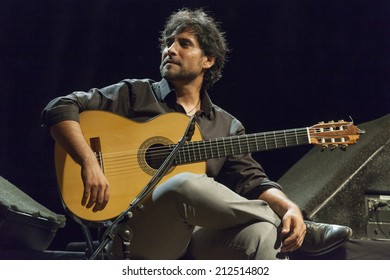 ALMUNECAR, SPAIN - JULY 19, 2014: Nino Josele, guitar, at XXVII International jazz festival of Almunecar, during his concert with Chano Dominguez