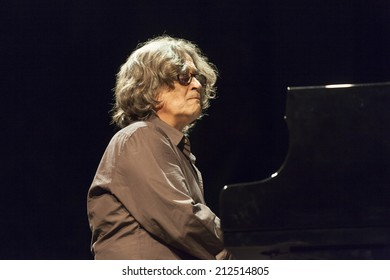 ALMUNECAR, SPAIN - JULY 19, 2014: Chano Dominguez, , at XXVII International jazz festival of Almunecar, during his concert with Nino Josele