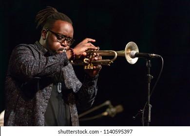 ALMUNECAR, SPAIN - JULY 21, 2018: XXXI International Jazz Festival, Jazz en la Costa. Marquis Hill, trumpet.