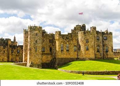 Alnwick Castle in Alnwick in the English county of Northumberland, United Kingdom. It is a location for films and programs such as Harry Potter movie.