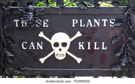 Alnwick Castle Garden - Poison garden sign, August 2nd, 2016 -  in the English county of Northumberland, UK