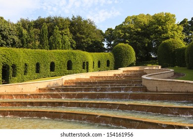 ALNWICK, ENGLAND - JULY 14: The Grand Cascade pictured on July 14, 2013 is the centrepiece of Alnwick gardens .  Opened in 2001 the Grand Cascade is the largest water feature of its kind in the UK.