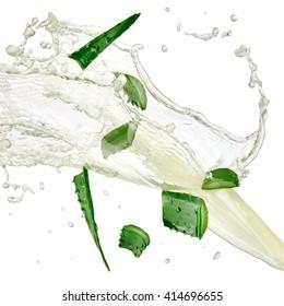 Aloe slices and juice splash, close up