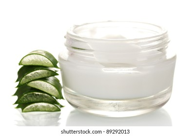 Aloe vera and cream isolated on white