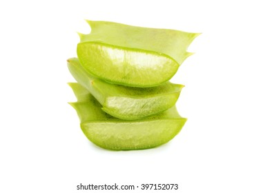 aloe vera cutted fresh leaves isolated on white background