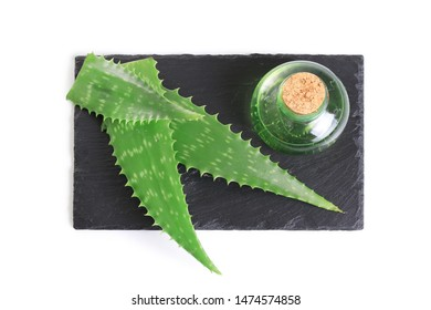 Aloe vera essential oil isolated on white background