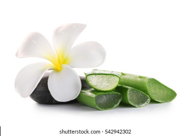 Aloe vera and flower on a white background.