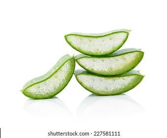 aloe vera fresh leaf  isolated on white