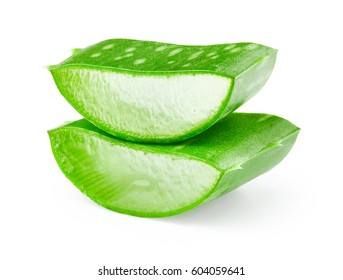 Aloe vera fresh leaf isolated on white background