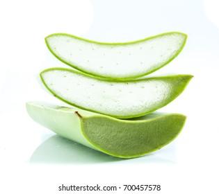 aloe vera fresh leaf isolated over white