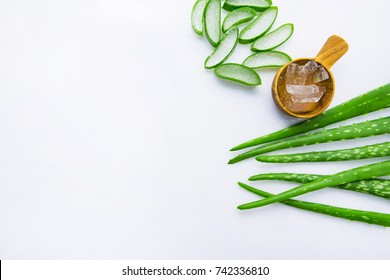 Aloe vera fresh leaves with aloe vera gel on wooden measuring spoon. isolated over white. Copy space.