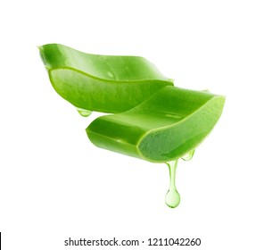 Aloe vera gel dripping from aloe vera slice isolated on white background