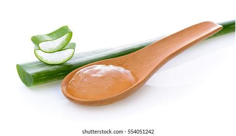 aloe vera gel in wood spoon