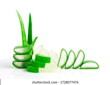 Aloe vera  leaf cut sliced isolated on white background. High benefit as an herb with medicinal properties