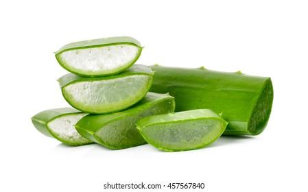 aloe vera leaf isolated on the white background.