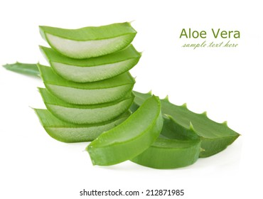 Aloe Vera leaves isolated on white background with sample text