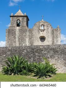 aloe vera plants in front of Our Lady of Loreto Chapel at Presidio La Bahia