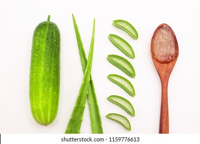 aloe vera slice with cucumber top view isolated on white background.